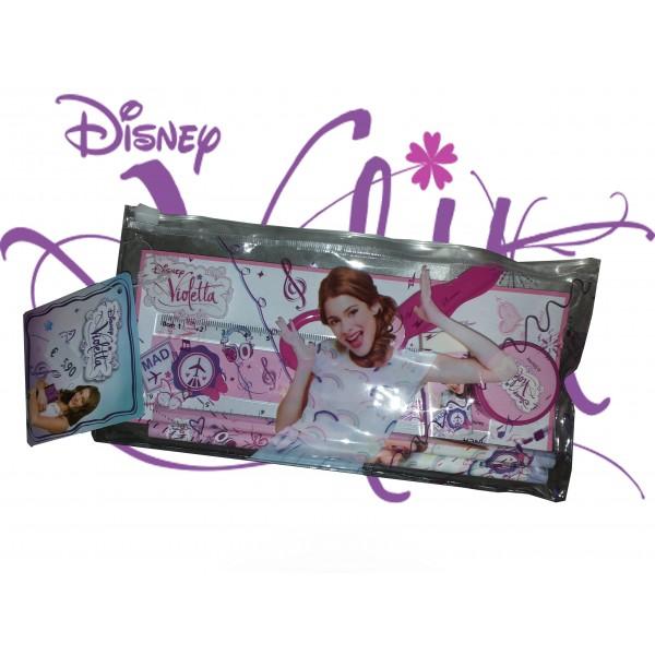 Astuccio Disney Violetta contenente 2 matite,temperino,gomma,forbice,righello 15cm, e blocchetto seligrafato