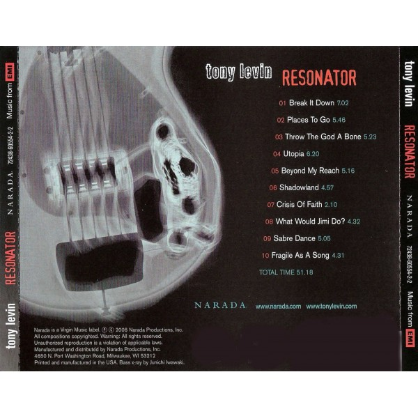 CD Tony Levin- resonator 094635719529