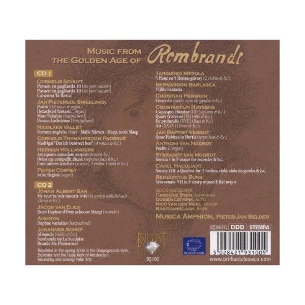 CD Music from the Golden Age of Rembrandt (doppio album) 5028421931005