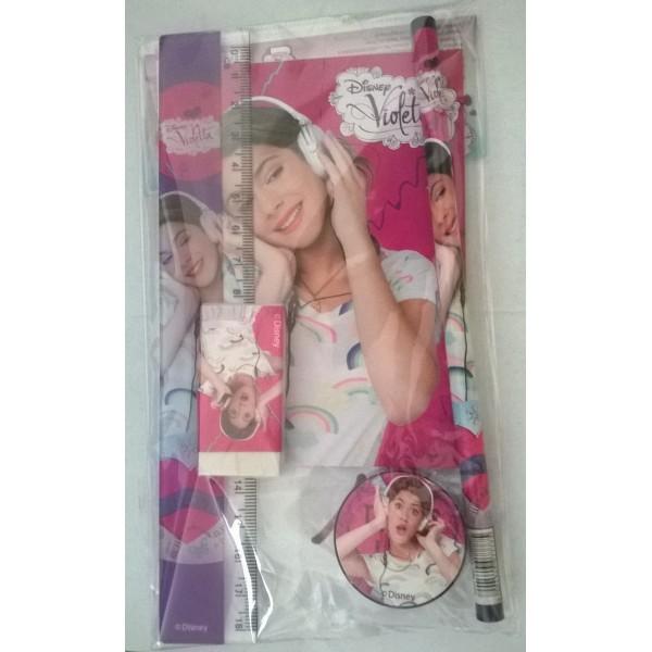 MIscellanea Violetta contenente un blocchetto,matita,righello,gomma e temperino